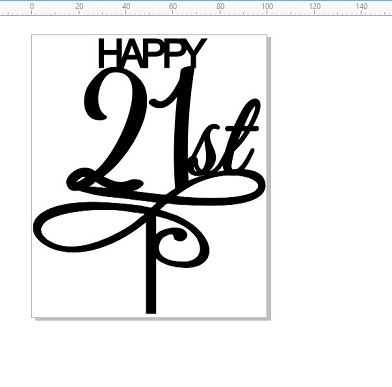 Cake topper acrylic happy 21st  numbers120 x 100     can add nam